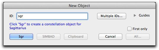 New object dialog
